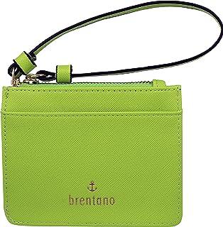 B BRENTANO Vegan Saffiano Leather Slim ID Credit Card Case with Wristlet Strap (Neon Green)