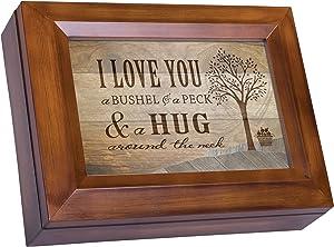 Cottage Garden Love You a Bushel Peck Hug Woodgrain Digital Keepsake Music Box Plays I Can Only Imagine