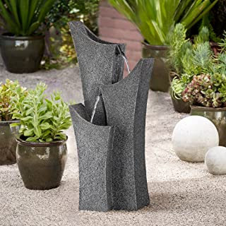 "John Timberland Exton Zen Modern Outdoor Floor Water Fountain 30 3/4"" High Cascading Arched for Yard Garden Patio Deck Home"