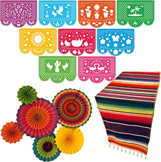 Jelda's Mexican Fiesta Decorations | Mexican Decorations and Fiesta Party Supplies | Theme Decor for Cinco De Mayo, Coco, Taco | Large Papel Picado Banner | Serape Table Runner | Colorful Paper Fans