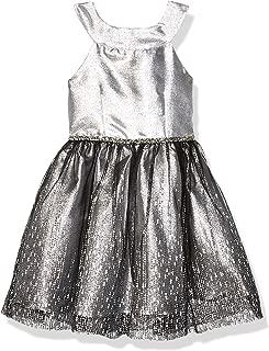 Emily West Girls' Brushed Knit Foil Dot Dress with Faux Fur Vest Outfit Set