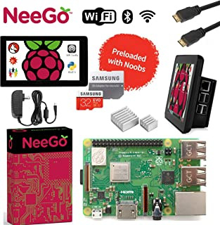 """Raspberry Pi 3 B+ (B Plus) Ultimate Kit – Complete Set Includes Raspberry pi Motherboard, 7"""" Touchscreen Display, Power Supply, 32GB SD Card, 2 Heatsinks, Official Case & 6ft HDMI Cable"""