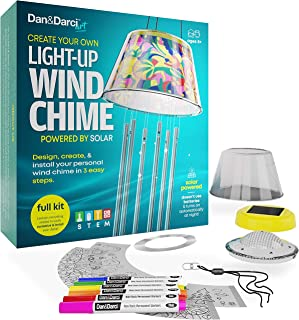 Make Your Own SOLAR-POWERED Light-Up Wind Chime Kit - Set Up & Design your DIY Chimes in 3 Easy Steps - Kids art Projects Kits - Childrens STEM Fun Science Craft - Perfect Girls Arts and Crafts Gifts
