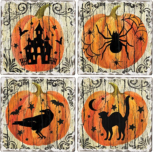 CounterArt Set Of 4 Assorted Tumbled Tile Coasters Spooky Halloween Silhouettes