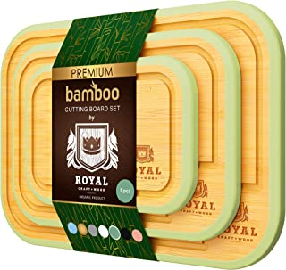 Bamboo Cutting Board Set with Juice Groove (3 Pieces) - Kitchen Chopping Board for Meat (Cutting Board) Cheese and Vegetab...