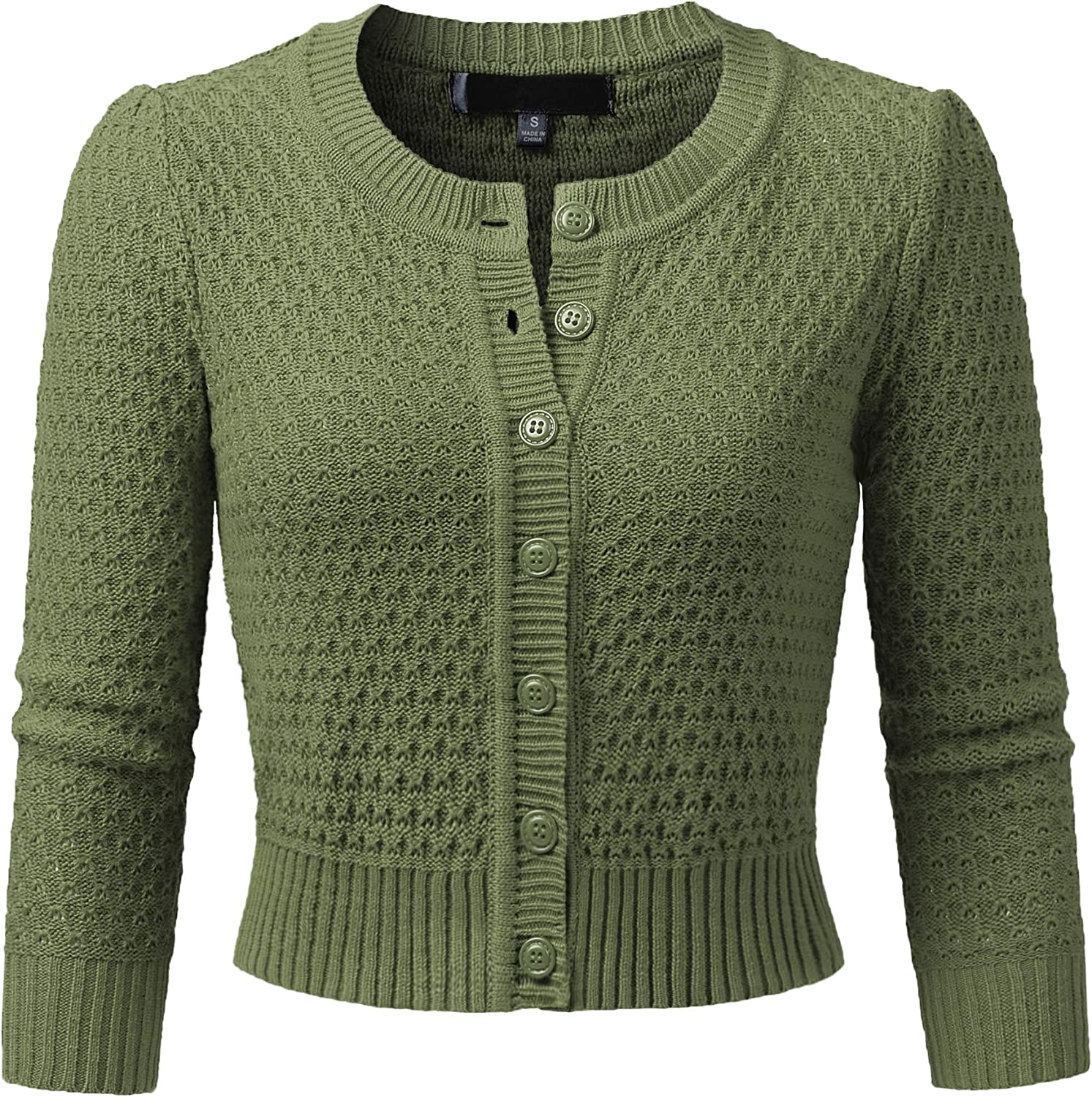 JSCEND Women's 3/4 Sleeve Crew Neck Button Down Cotton Knit Cropped Cardigan Sweater (S-3XL)
