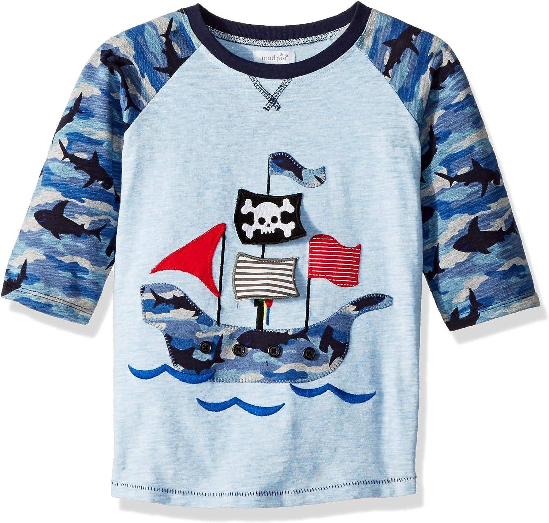Mud Pie Baby Boys Pirate Ship Camo Long Sleeve Raglan T-Shirt