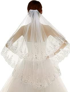 Edith qi 2 Tier Lace Sequins Edge Fingertip Length Bridal Wedding Veil