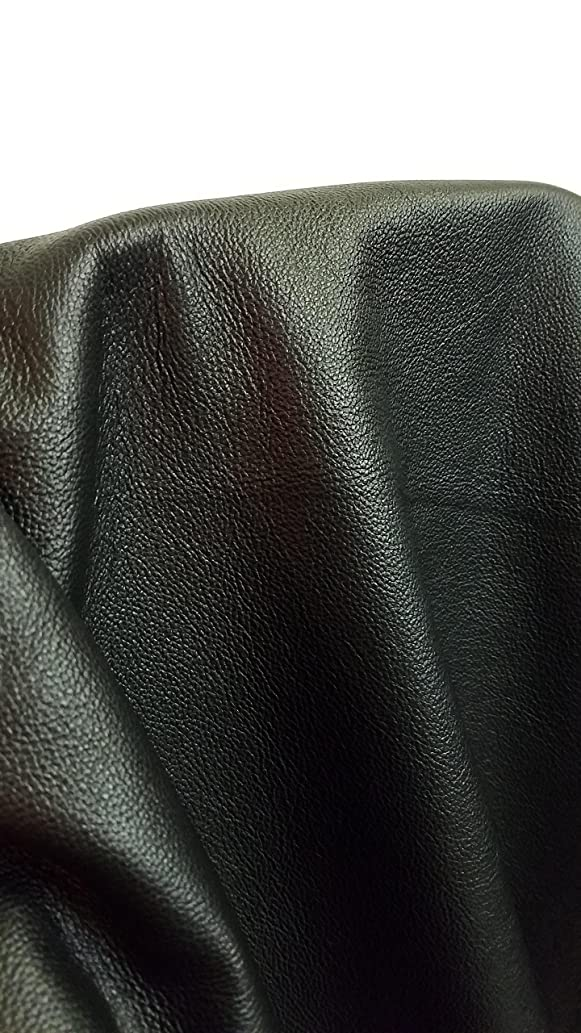 NAT Leathers Black Vintage Soft Upholstery Chap Cowhide 2.5 oz Genuine Leather Hide Skin 22 to 24 Square Feet (33
