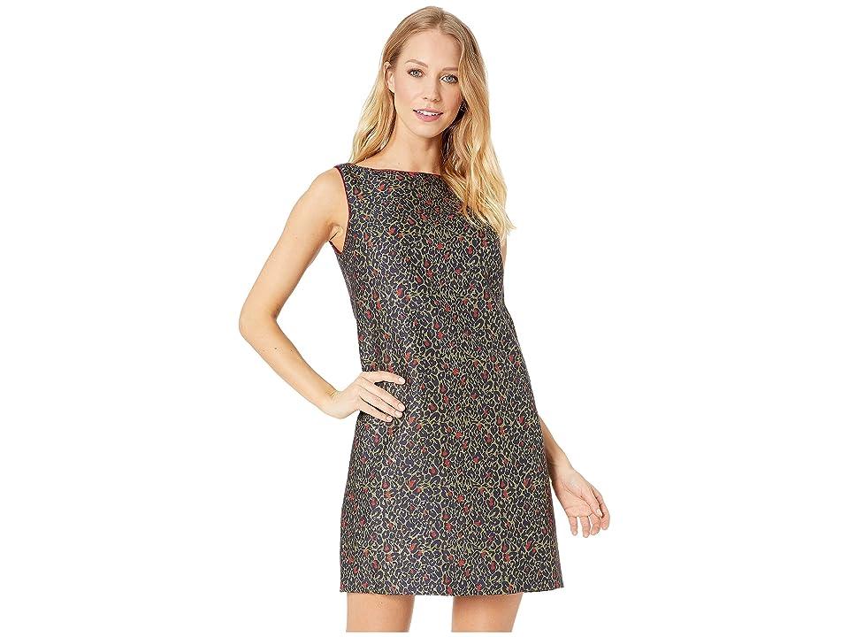 Betsey Johnson Leopard Shift Dress (Red/Multi) Women