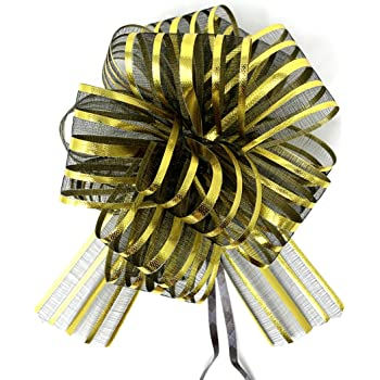 """6"""" Black and Gold Over The Top Christmas Holiday Feather Hair Bow"""