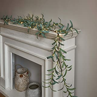 LITBLOOM Lighted Olive Garland 6FT 48 LED Battery Operated with Timer Artificial Greenery Twig Vine Lights for Wedding Par...
