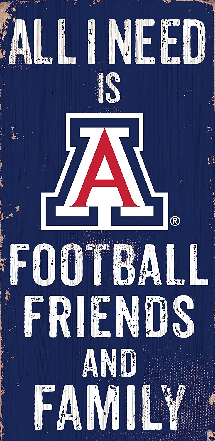 Fan Creations Arizona Wildcats All I Need is Football, Friends, and Family Wood Sign