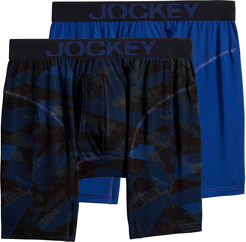 Jockey Mens 2-pk. RapidCool Midway Briefs Large Fusion Blue/Black