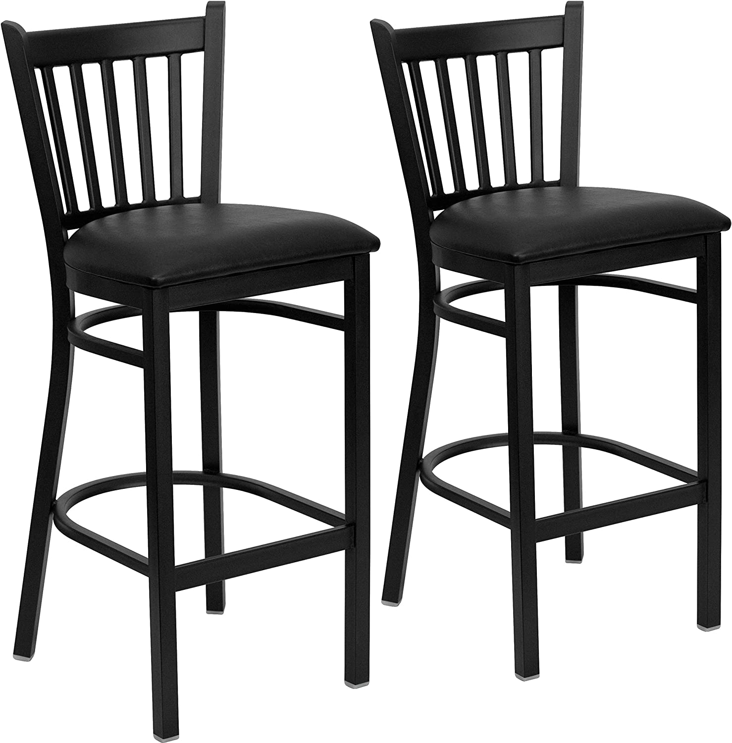 Flash Furniture 2 Pk. Hercules Series Black greenical Back Metal Restaurant Barstool - Black Vinyl Seat