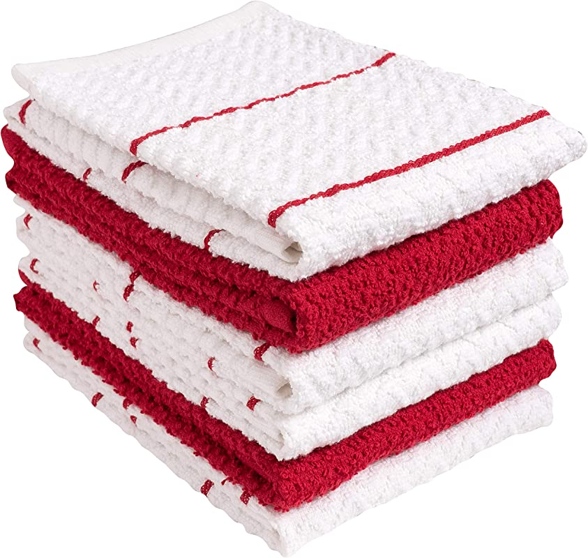 KAF Home 100 Cotton Chevron Terry Towels Set Of 6 Super Plush And Absorbent Terry Towels A Great Value And Perfect For Kitchen And Household Messes Red