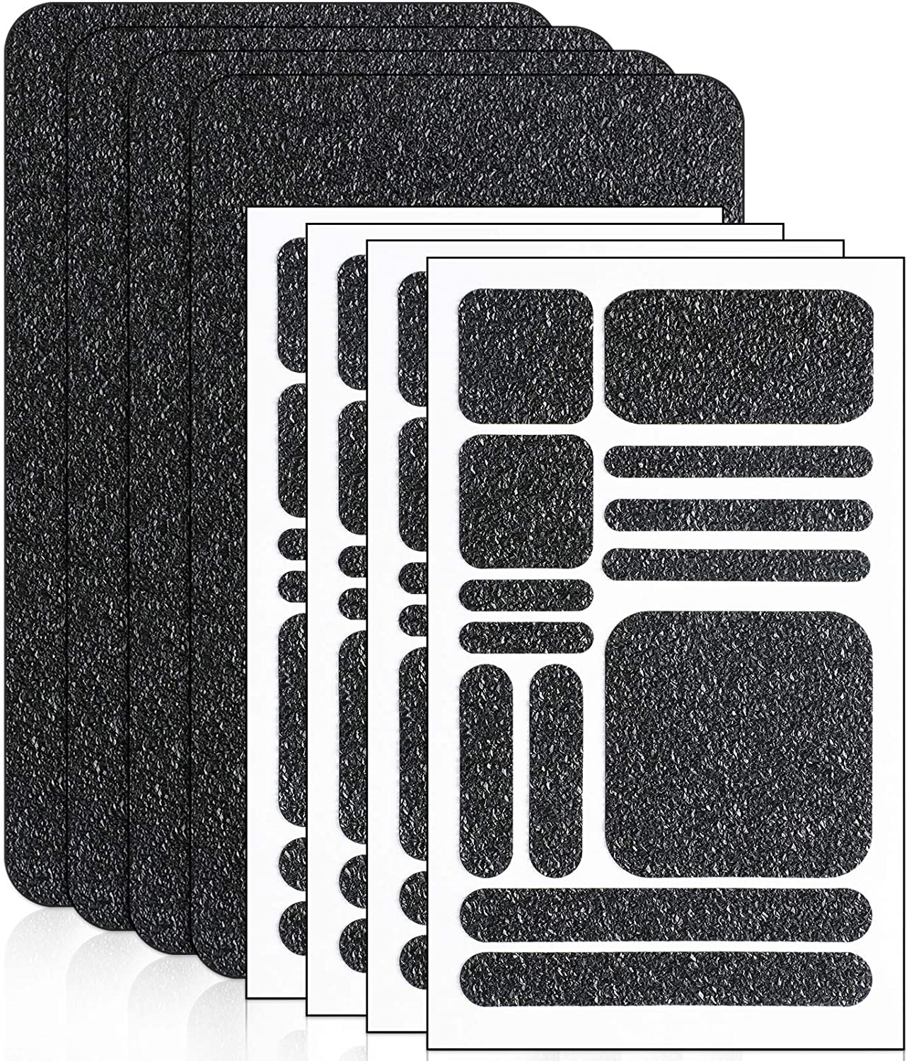 8 Pieces Cell Phone Grip Tapes Stickers Anti-Slip Grip Rubberized Decal Stickers Adhesive Traction Grip Decal Stickers Anti-Slip Textured Phone Tape for Phones Tablet Computer Gaming Cases (Black)