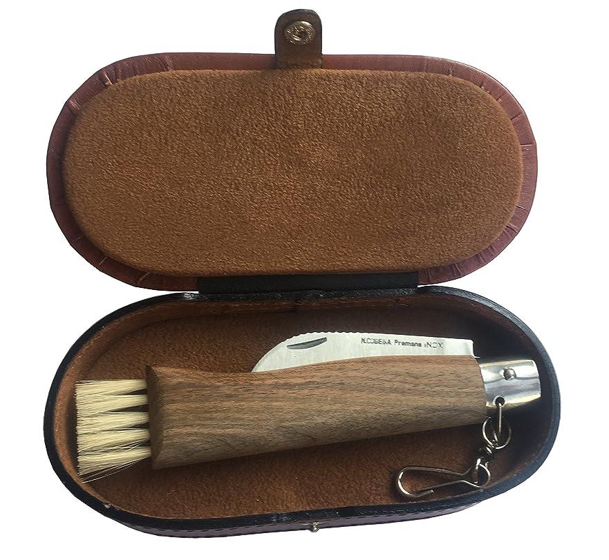 優しいスタウト高くきのこ、狩猟やクルミの木革の宝石箱の釣りのためのGifazナイフ