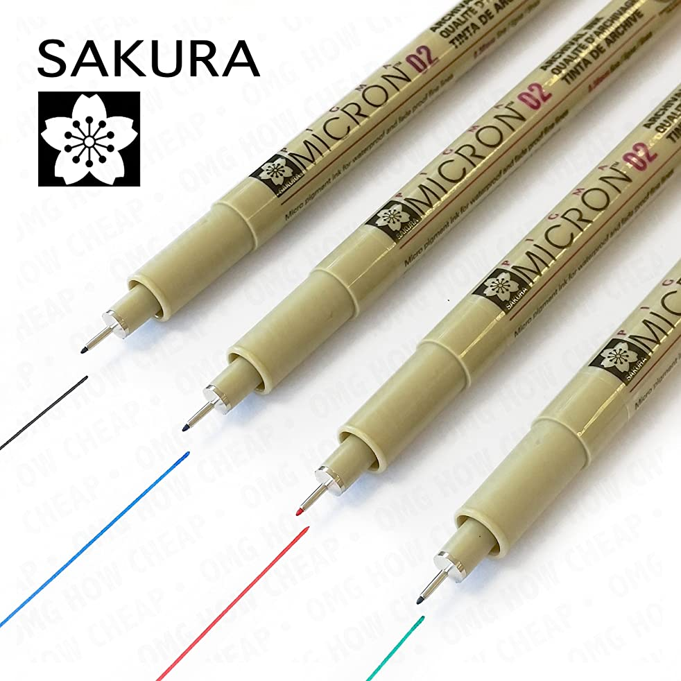 Sakura Pigma Micron - Pigment Fineliners - Pack of 4 - 0.2mm - Black, Blue, Red, and Green