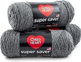RED HEART E300PK.0400 Super Saver 3-Pack Yarn, Grey Heather 3 Pack