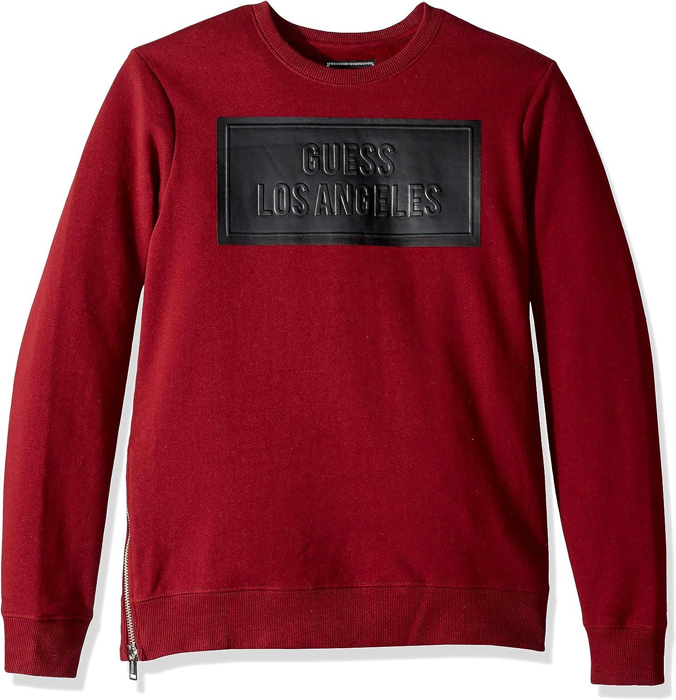 GUESS Mens Long Sleeve Logan Coated Crew Neck Shirt TShirt