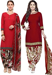Rajnandini Women's Red and Maroon Crepe Printed Unstitched Salwar Suit Material (Combo Of 2) (Free Size)