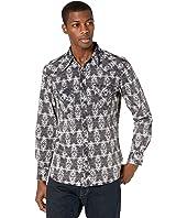 Long Sleeve Print Snap Shirt B2S8099