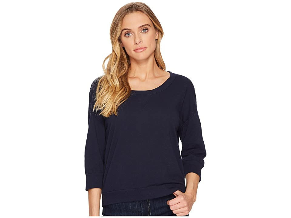 Three Dots Slub Jersey Crop Sweatshirt (Night Iris) Women