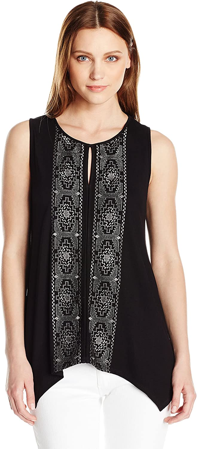 Adrianna Papell Womens Embroidered Key Hole Sleeveless Metallic Emb Sharkbite Blouse