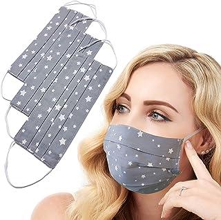 3pz Lilind Maschera per il viso alla Moda, Handmade, Riutilizzabile, 100% Cotone, Motivo a Stella Grigia…