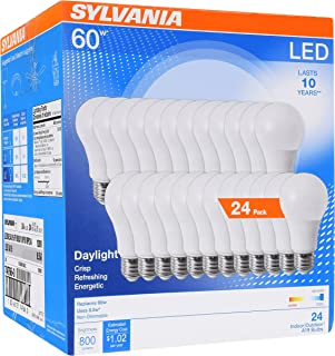 SYLVANIA 74766 60W Equivalent, LED Light Bulb, A19 Lamp, Efficient 8.5W, Bright White 5000K, 24 Pack, Daylight, 24 Count