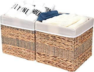 StorageWorks Rectangular Wicker Storage Baskets, Hyacinth and Seagrass Basket with Lining, Large Baskets for Cube Storage, 11.8