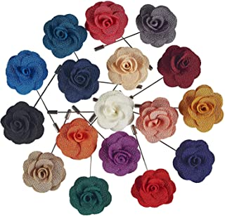 Men's Lapel Pins with Flower, Assorted Colors, 12 Piece