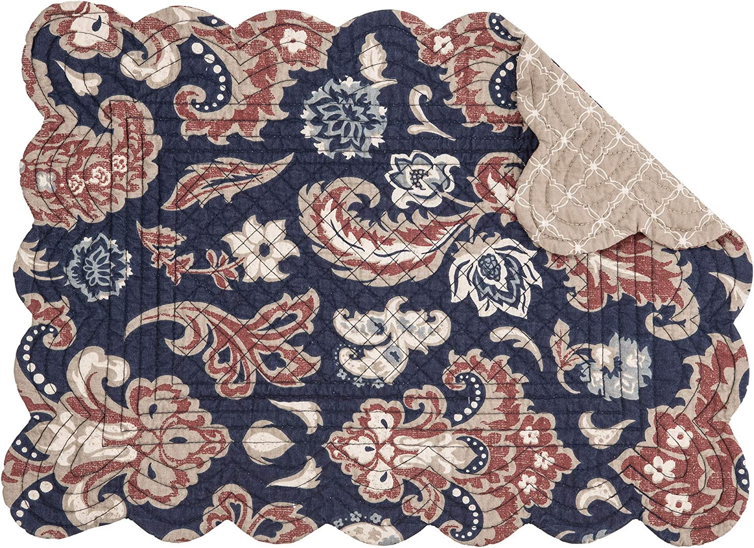 C&F Home Colonial Williamsburg Rosamund Damask Single Placemat Quilted Reversible Cotton Boho Abstract Table Mat for Kitchen Dining Table Rectangular Placemat Gray