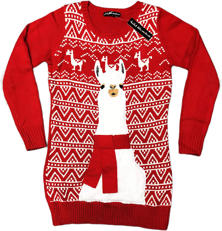 Festive Embellished Holiday Llama Women's Red Tunic Ugly Christmas Sweater