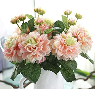 Furnily Dahlia Fake Flowers 5 Pcs Silk Artificial Flowers for Outdoor Wedding Party Home Decoration Artificial Floral(Pink)