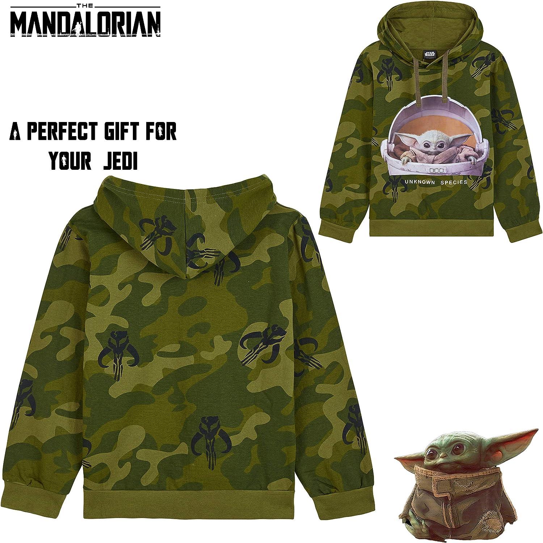 Idea Regalo Abbigliamento Ufficiale The Child Felpa Baby Yoda The Mandalorian Mimetica con Cappuccio Star Wars Felpa Bambino E Ragazzo 7-15 Anni