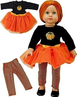 American Fashion World Orange Glitter Pumpkin Tutu Dress Fits 18 Inch Doll