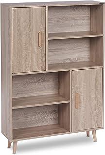 ts-ideen Libreria Mensoliera Table de chevet avec 2 portes et 4 étagères ouvertes Chêne Sonoma 118 x 80 cm