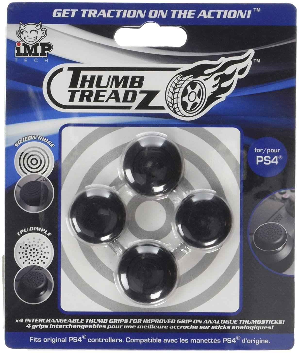 Snakebyte Trigger Treadz - Thumb Treadz for PS4 - 4 Pack Thumb Grips - Analog Caps for PlayStation 4 - PlayStation 4
