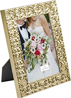 TERESA'S COLLECTIONS 4X6 Inch Picture Frame, Handmade Rustic Gold Sequins Design Photo Poster Frame for Tabletop/Wedding/Home/Wall Decorations (Mr. & Mrs.)