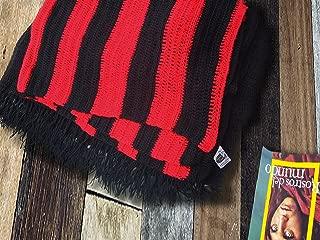 "Sweet Dreams Home - 4 Four Pack: 100% Baby Alpaca Throw Blanket Extra Single-Size (60"" W x 73"" L + 5"" Fringes – 155 x 185 cm; 1.1 kg - Each), Crochet Knit, 4 Units, Red-Black, Handmade, Softness, Bio"