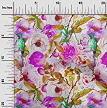 oneOone Cotton Poplin Twill Purple Fabric Bird & Floral Watercolor Craft Projects Decor Fabric Printed by The Meter 56 Inc...