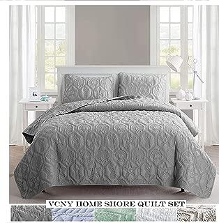 VCNY Home Shore Quilt Set, King, Grey