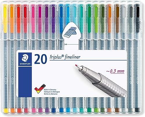 Staedtler Triplus Fineliner, Feutres à pointe extra-fine pour écriture et contours, Étui chevalet avec 20 couleurs lu...