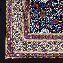 India Arts Unique Handmade 100% Cotton Sunflower Tablecloth 60x60 Square Black & Yellow