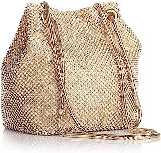 TOPCHANCES Triangle Full Rhinestones Women's Evening Clutch Bag Party Prom Wedding Purse (Gold Square Rhinestones Bag)