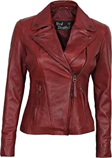 Womens Red Leather Jacket - Lambskin Real Leather Jacket Women