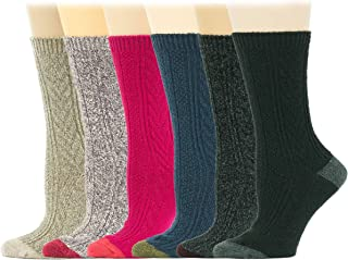 6 Pairs Women Cable Knit Winter Wool Boot Crew Socks