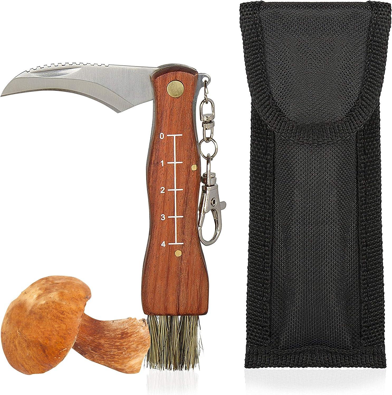 Oramics - Navaja para setas con cepillo y regla, mango de madera, hoja de acero inoxidable, navaja de bolsillo para champiñones y trufas, color natural marrón